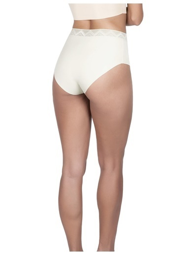 Cottonhill Desenli Lastikli Yüksek Bel Lazer Kesim Kadın Bikini Külot Krem